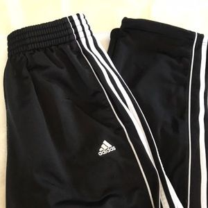 Adidas black wide leg track pants men's Small